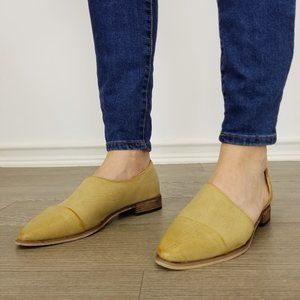 Beige Opened Side Pointy Slip On Flat Loafer